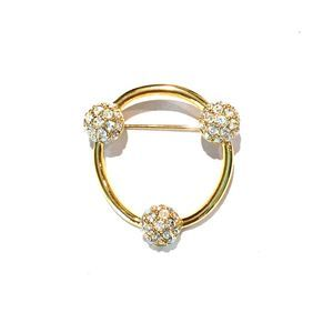 Swarovski Crystal Pave Circle Brooch Pin